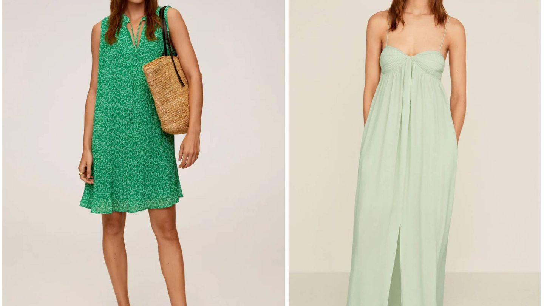 Nuevos vestidos verdes de Mango. (Cortesía)
