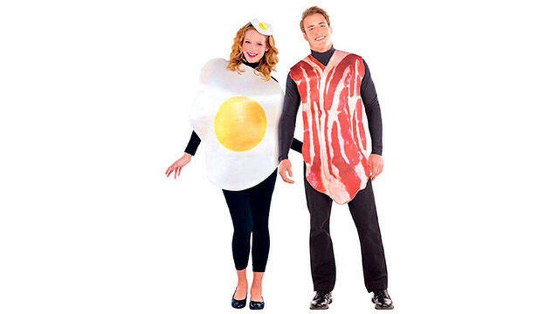 Disfraces de pareja de jamón serrano y huevo frito