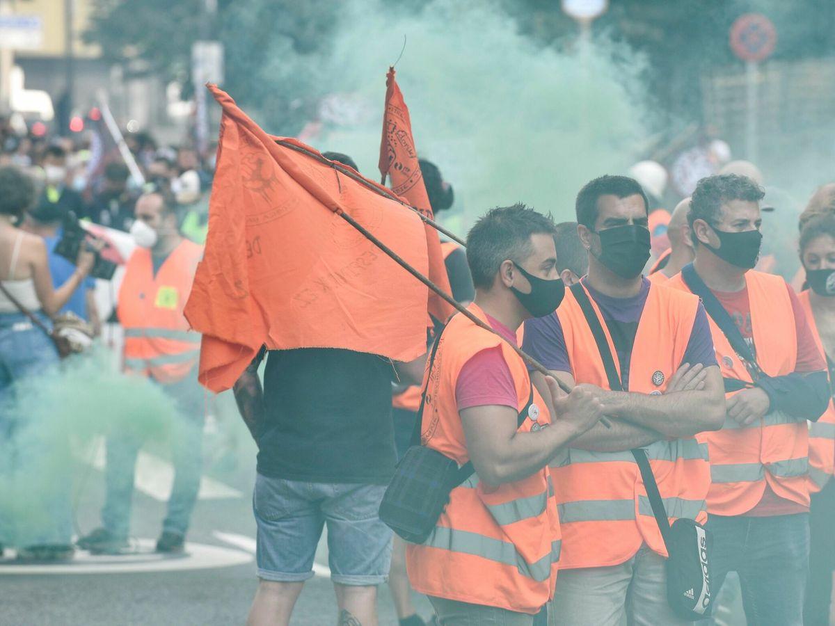 Foto: Trabajadores de Tubacex en manifestaciones de junio. (EFE)