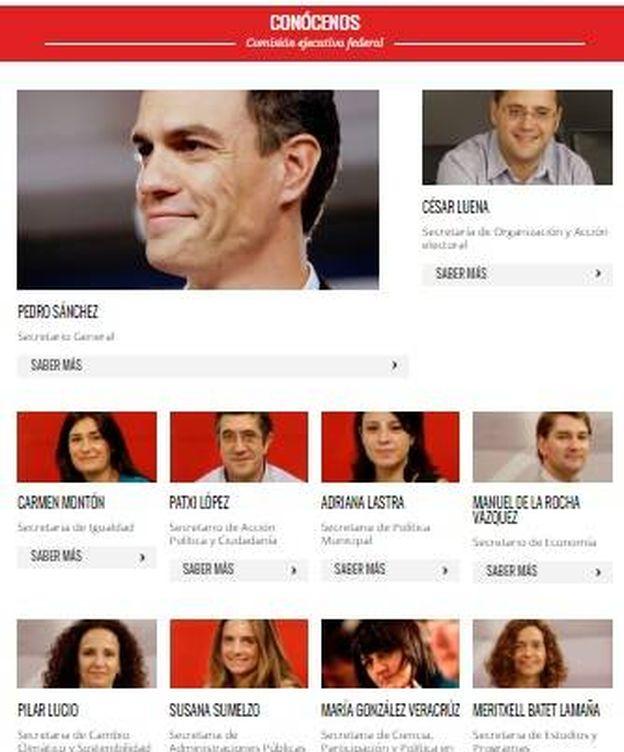 Foto: La Ejecutiva Federal según la página web del PSOE