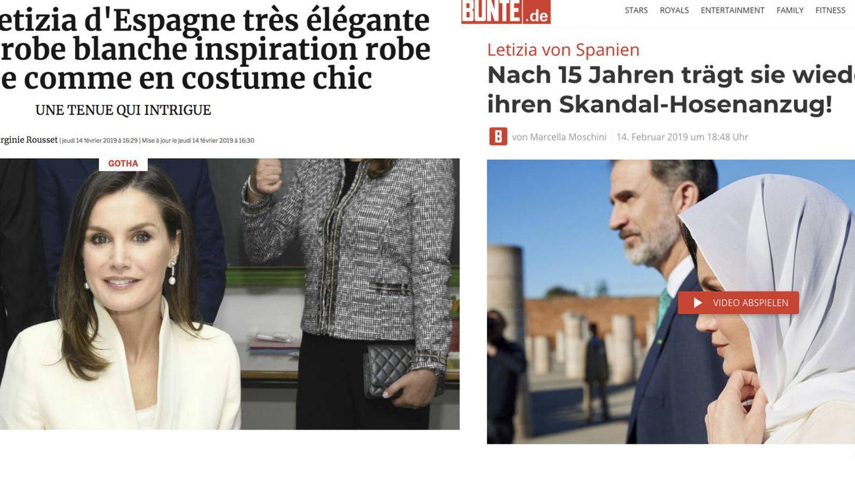 La prensa internacional se hace eco del vestuario de la reina Letizia. (Gala / Bunte)