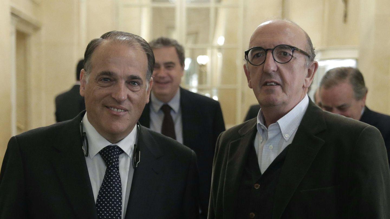 Javier Tebas y Jaume Roures. (EFE)