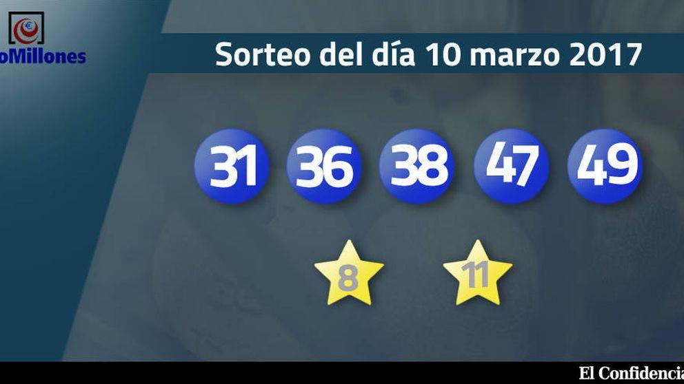 Resultados del sorteo del Euromillones del 10 de marzo de 2017