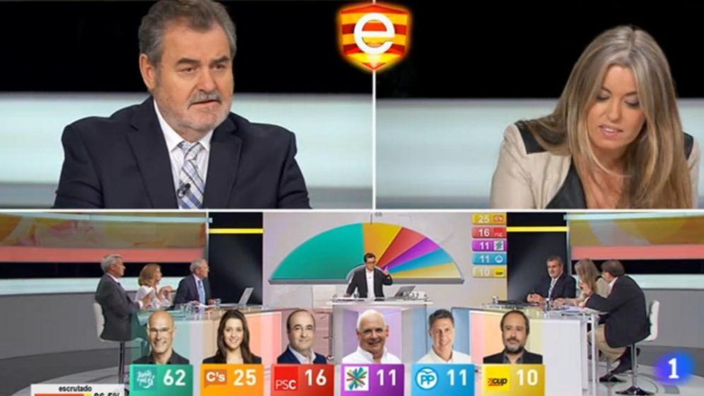 Foto: Fermín Bocos y Anna Arqués, en el programa de la noche electoral de TVE (EC).