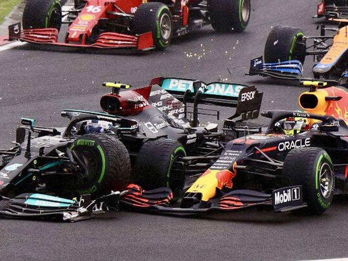 Foto: El error de Bottas en la salida terminó con la carrera de Pérez y condicionó la de Verstappen