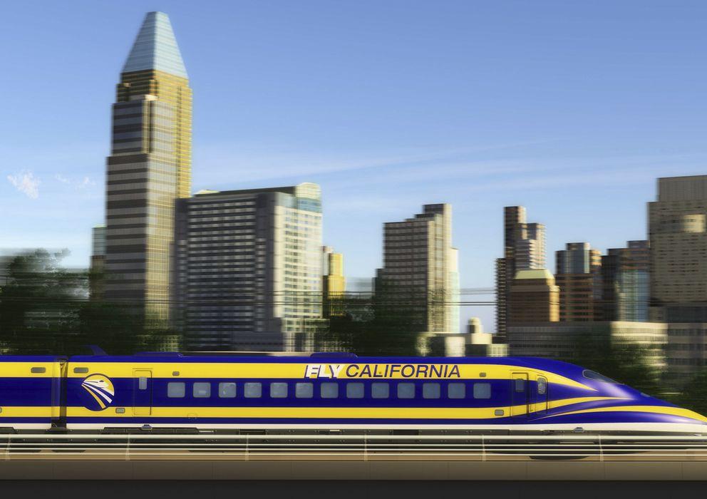 Foto: Una imagen diseñada por un artista muestra el AVE pasando por Sacramento, California (Reuters).