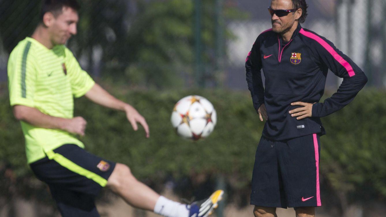 Foto: Luis Enrique y Leo Messi durante un entrenamiento en la ciudad deportiva Joan Gamper (Efe).