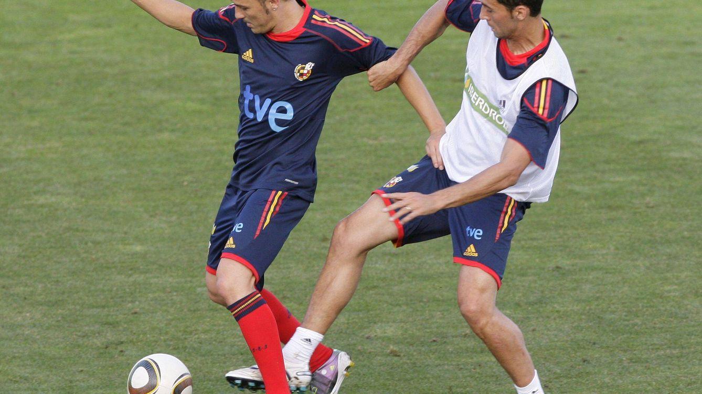 Foto: David Villa y Álvaro Arbeloa durante su etapa en la Selección. (EFE)