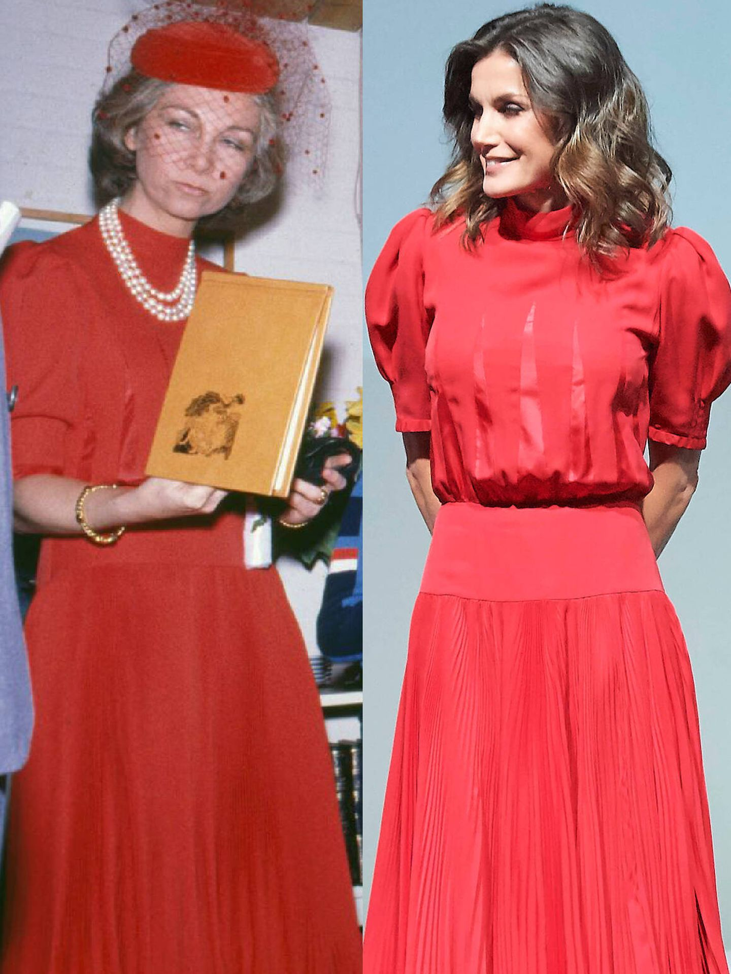 Doña Sofía, en 1980 con el vestido y doña Letizia en 2018. (Getty/LP)