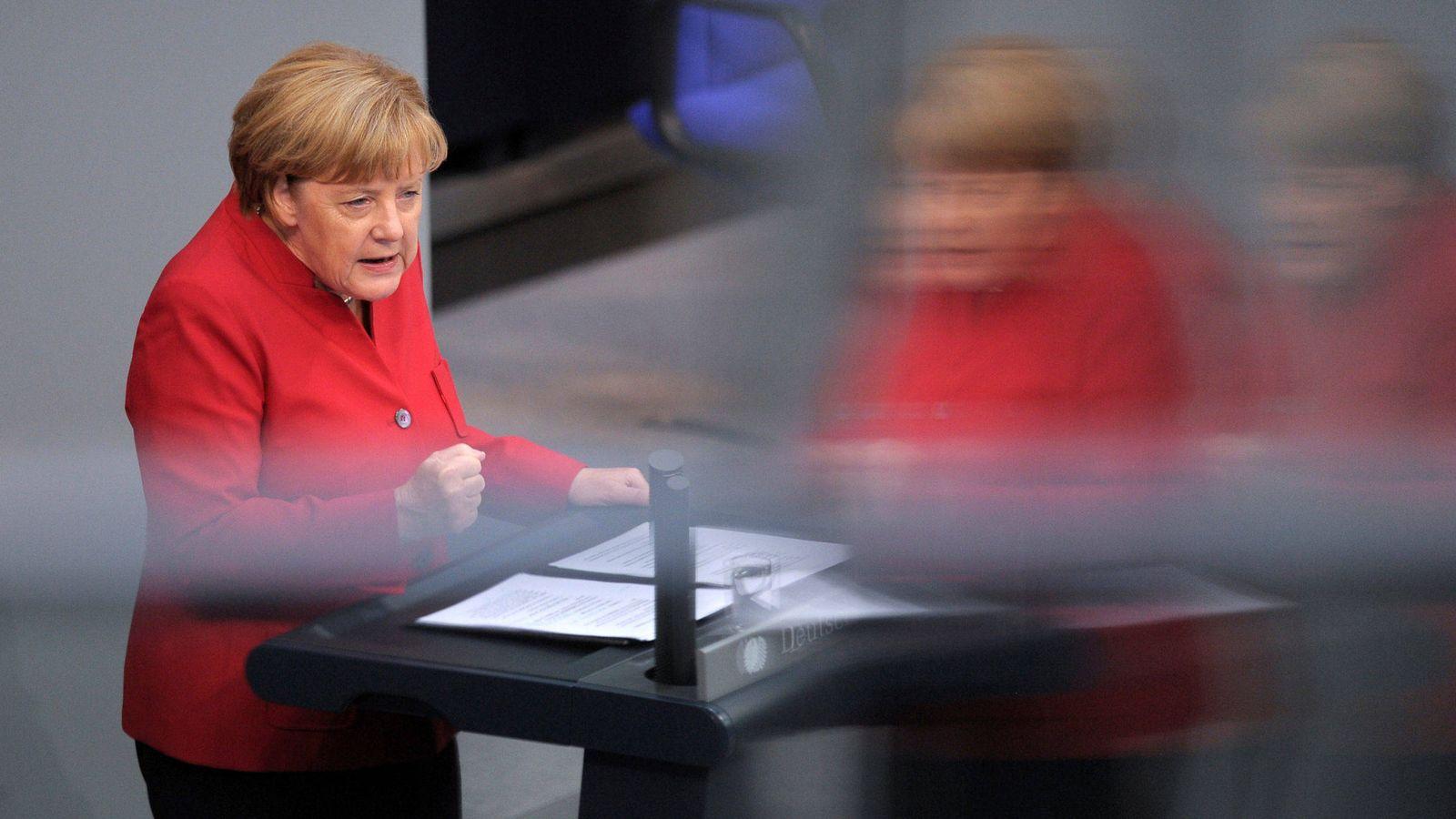 Foto: Merkel, durante una intervención en el Bundestag (Reuters)