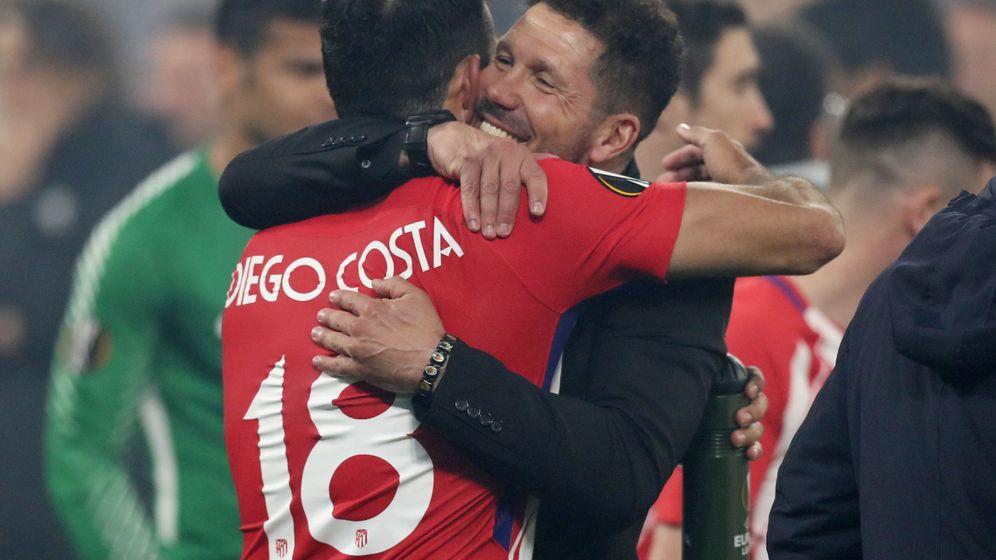 Foto: Diego Costa y Simeone en la final de la Liga Europa de 2018. (Reuters)
