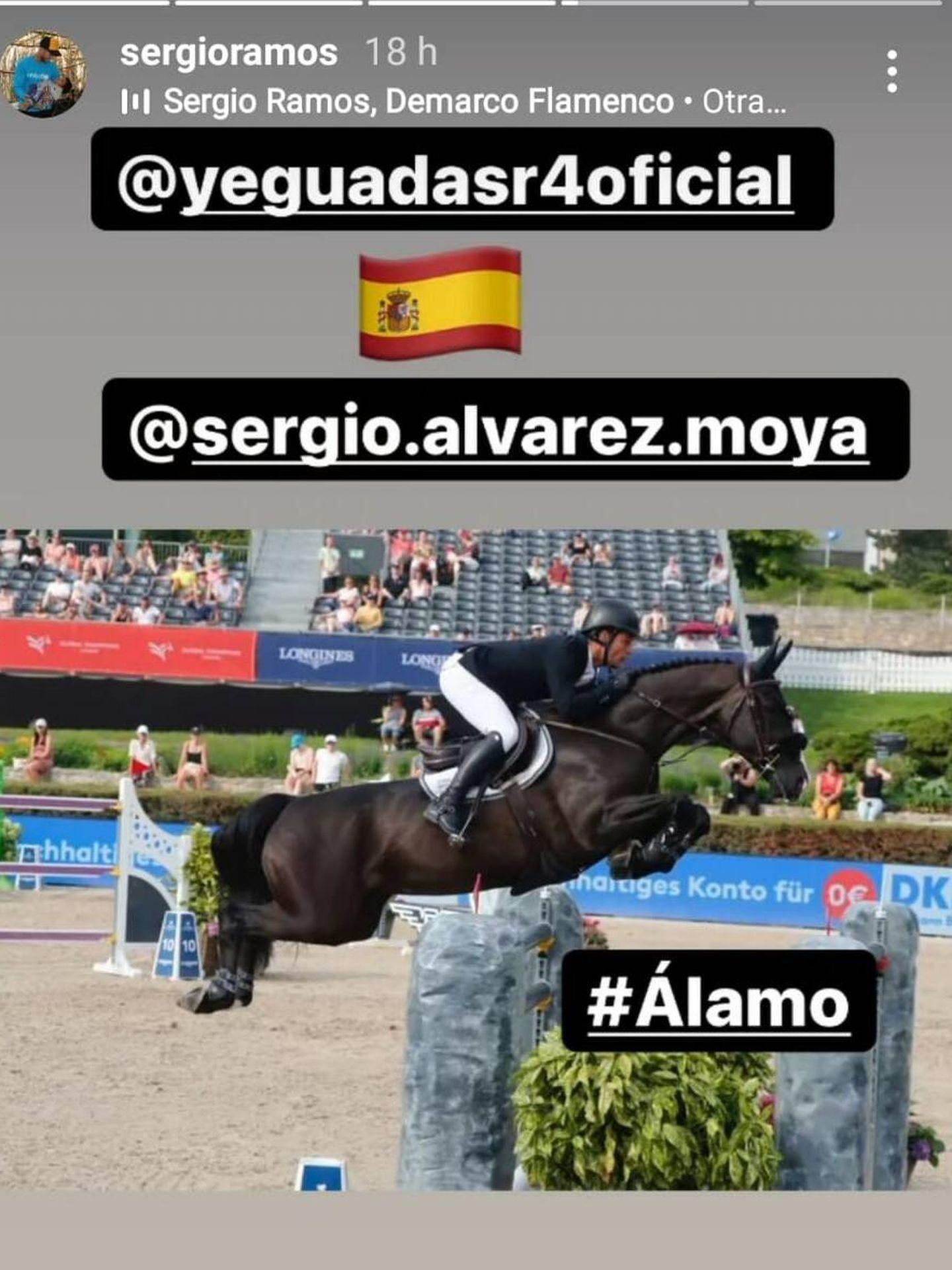Sergio Ramos alaba a su socio y amigo Álvarez Moya y a Álamo, su caballo en común. (@sergioramos)