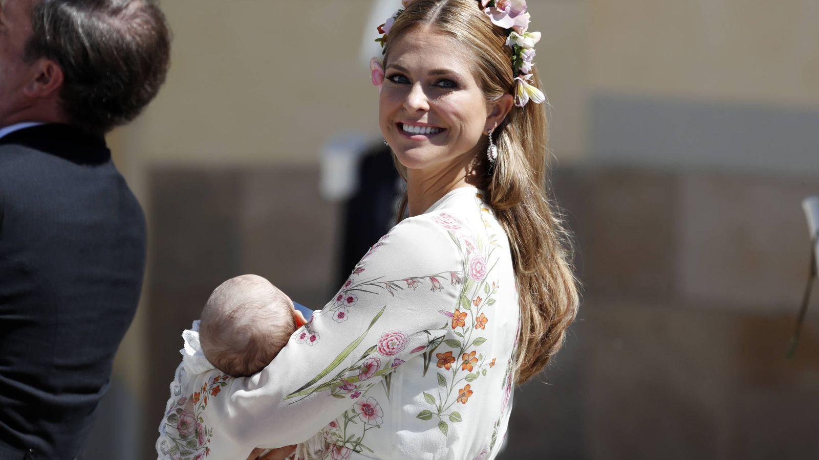 Foto: La princesa Magdalena, en el bautizo de su hija Adrienne. (Getty)
