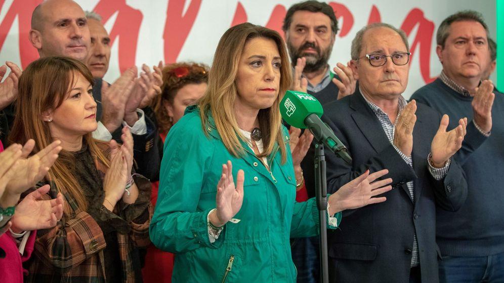 Foto: Susana Díaz comparece en Sevilla tras conocerse los resultados de las elecciones. (EFE)