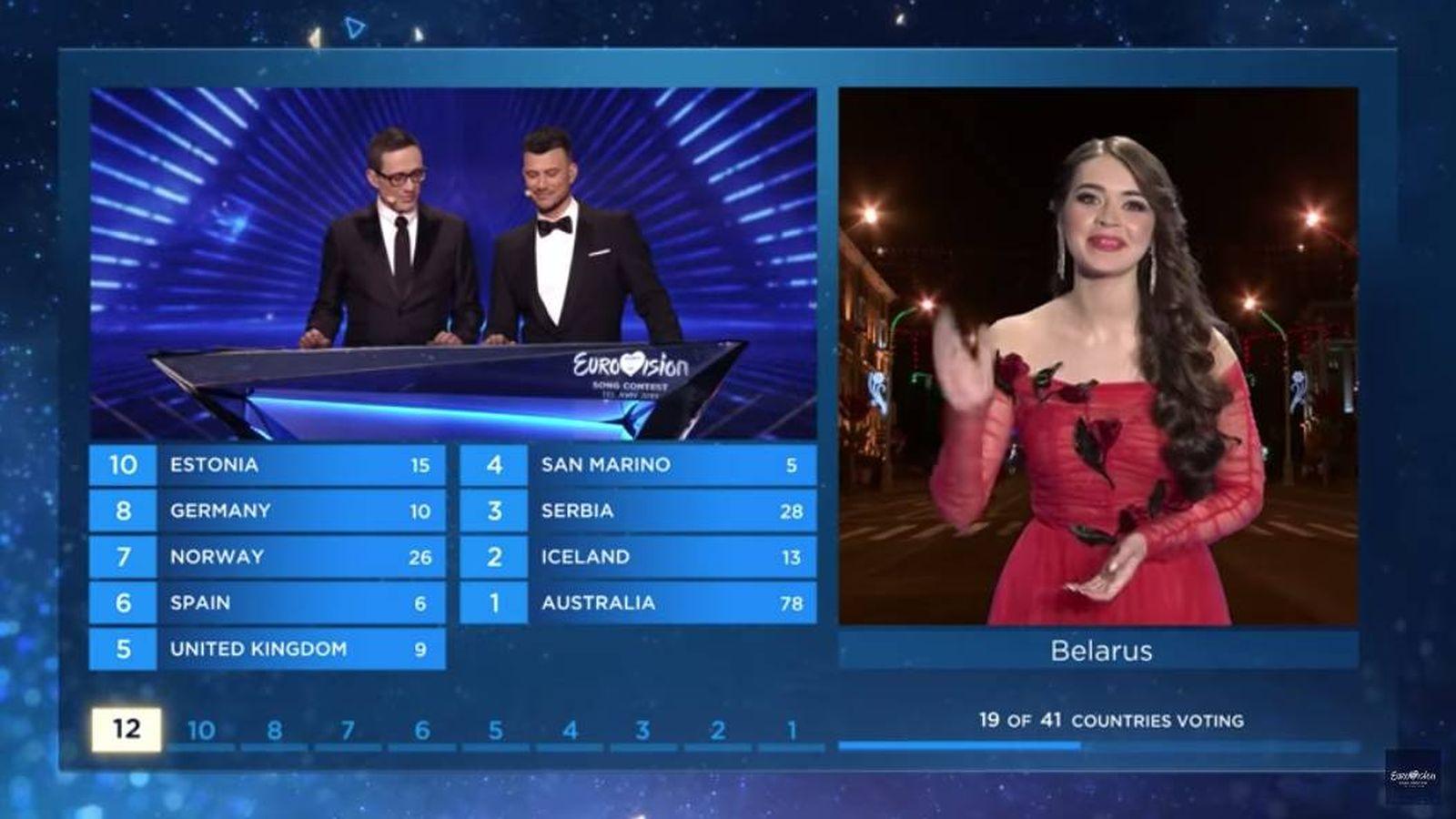 Foto: Portavoz del jurado de Bielorrusia durante la final. (Eurovision.TV)