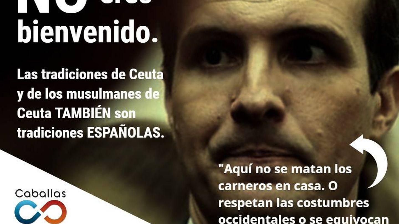 Cartel del partido musulmán Caballas, de Ceuta, rechanzado la visita de Pablo Casado a la ciudad
