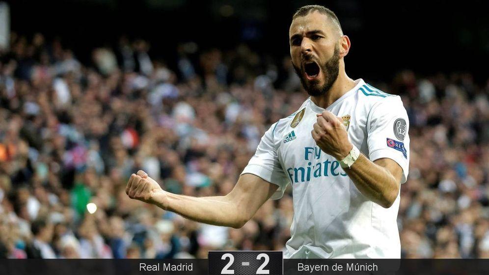 Foto: Benzema, con sus dos goles al Bayern, tuvo su primera gran noche en mucho tiempo y fue clave para la clasificación del Real Madrid. (EFE)