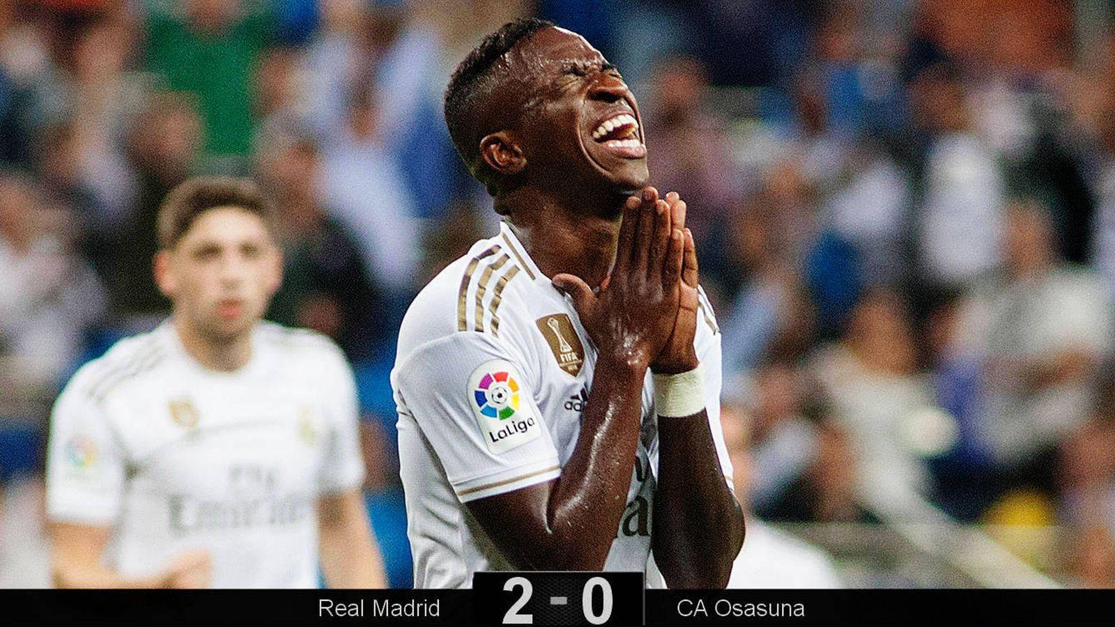 Foto: Las lágrimas de Vinícius tras marcar el primer gol del Real Madrid-Osasuna. (Miguel J. Berrocal)