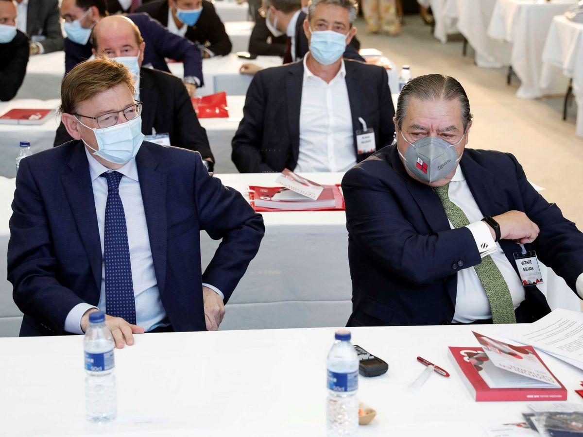 Foto: Ximo Puig y el presidente de la Asociación Valenciana de Empresarios, Vicente Boluda. (EFE)
