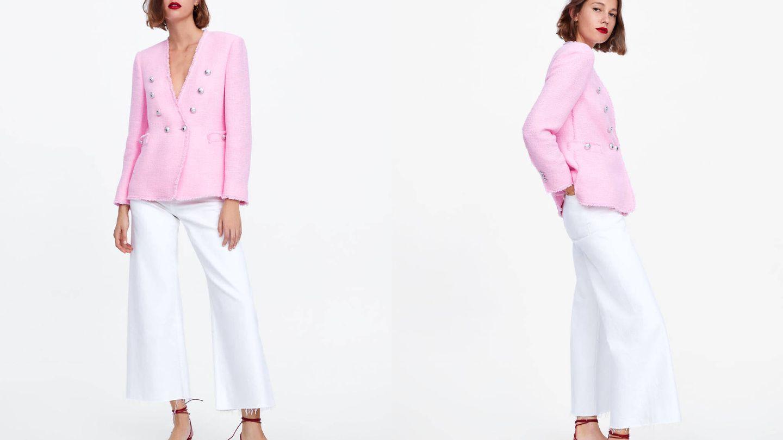 Chaqueta rosa de Zara en tweed.