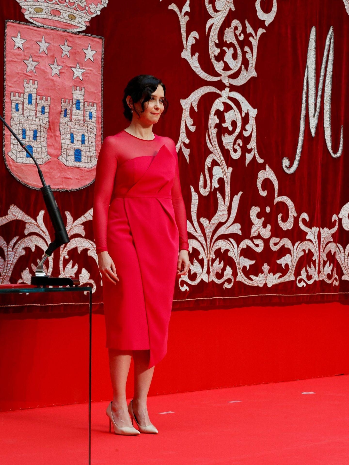La presidenta de la Comunidad de Madrid, Isabel Díaz Ayuso, tras su investidura celebrada en la Real Casa de Correos. (EFE)