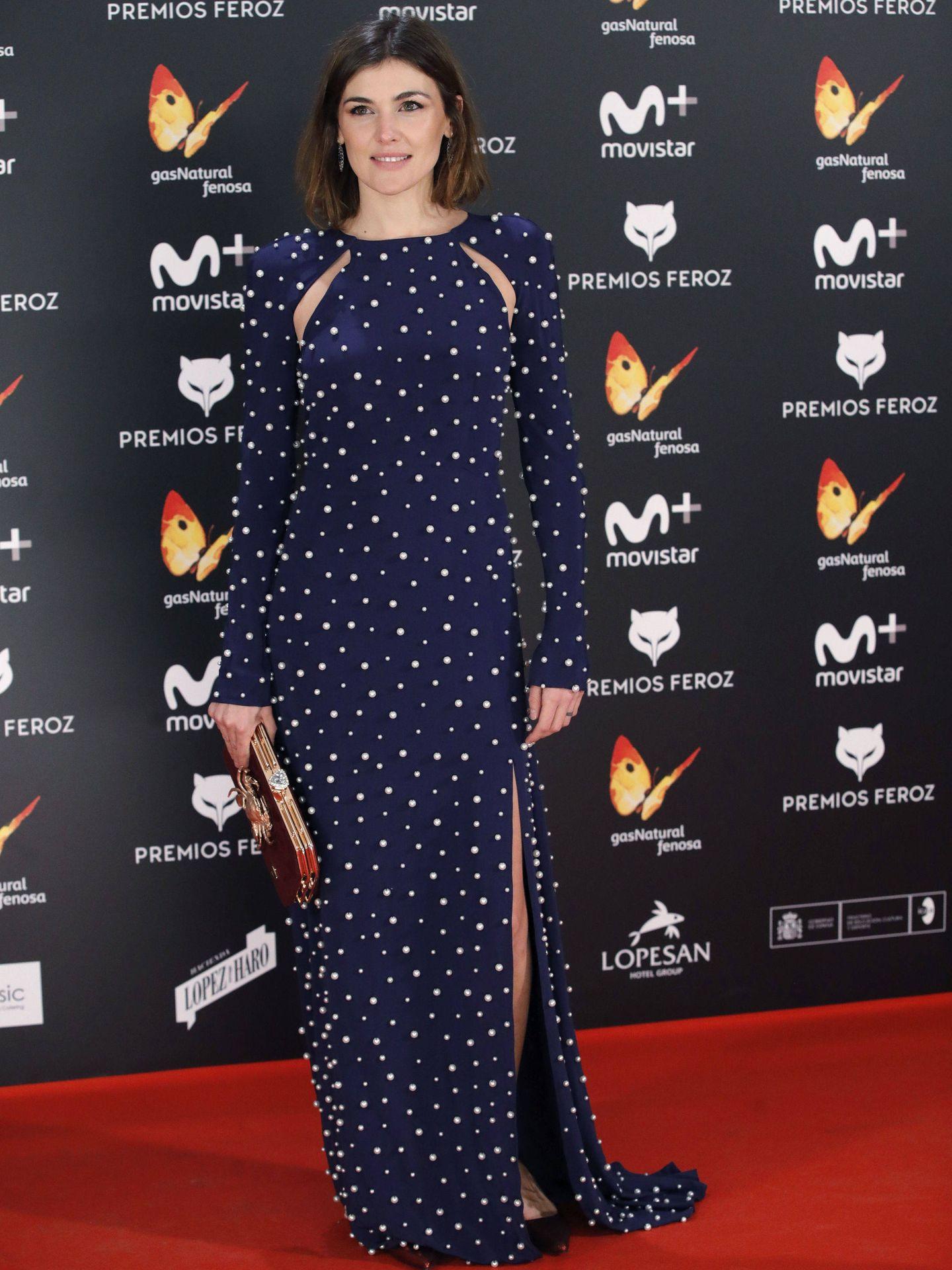La actriz Marta Nieto, con un vestido que lució Letizia un año después. (EFE)