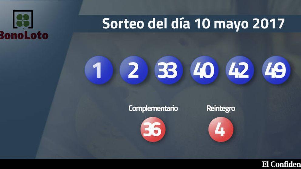 Resultados de la Bonoloto del 10 mayo 2017: números 1, 2, 33, 40, 42, 49