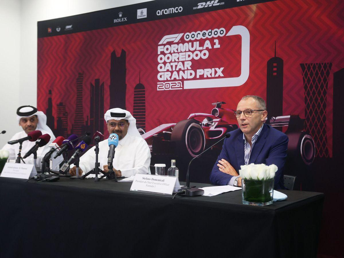 Foto: Mohammed bin Abdulla Al Thani, con  Stefano Domenicali en el anuncio del Gran premio de Qatar (Reuters)