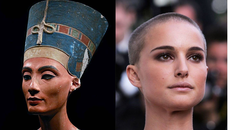 El busto de Nefertiti, frente al rostro de Natalie Portman. (Getty)