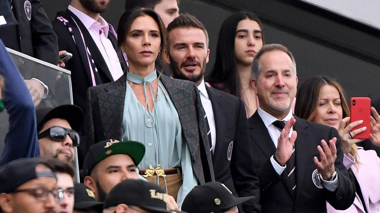 La pareja, en un partido del Inter Miami. (Getty)