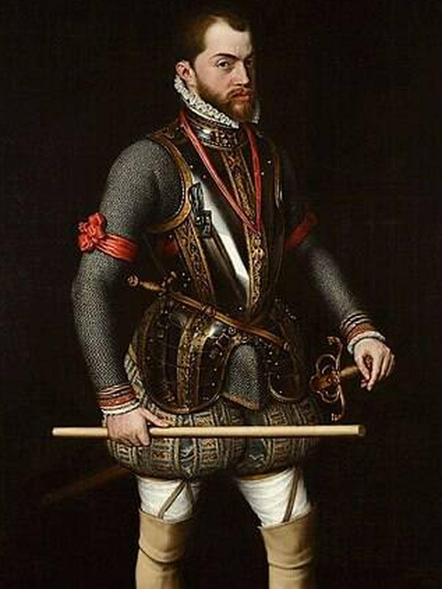 Un retrato de Felipe II realizado por Antonio Moro en 1557.