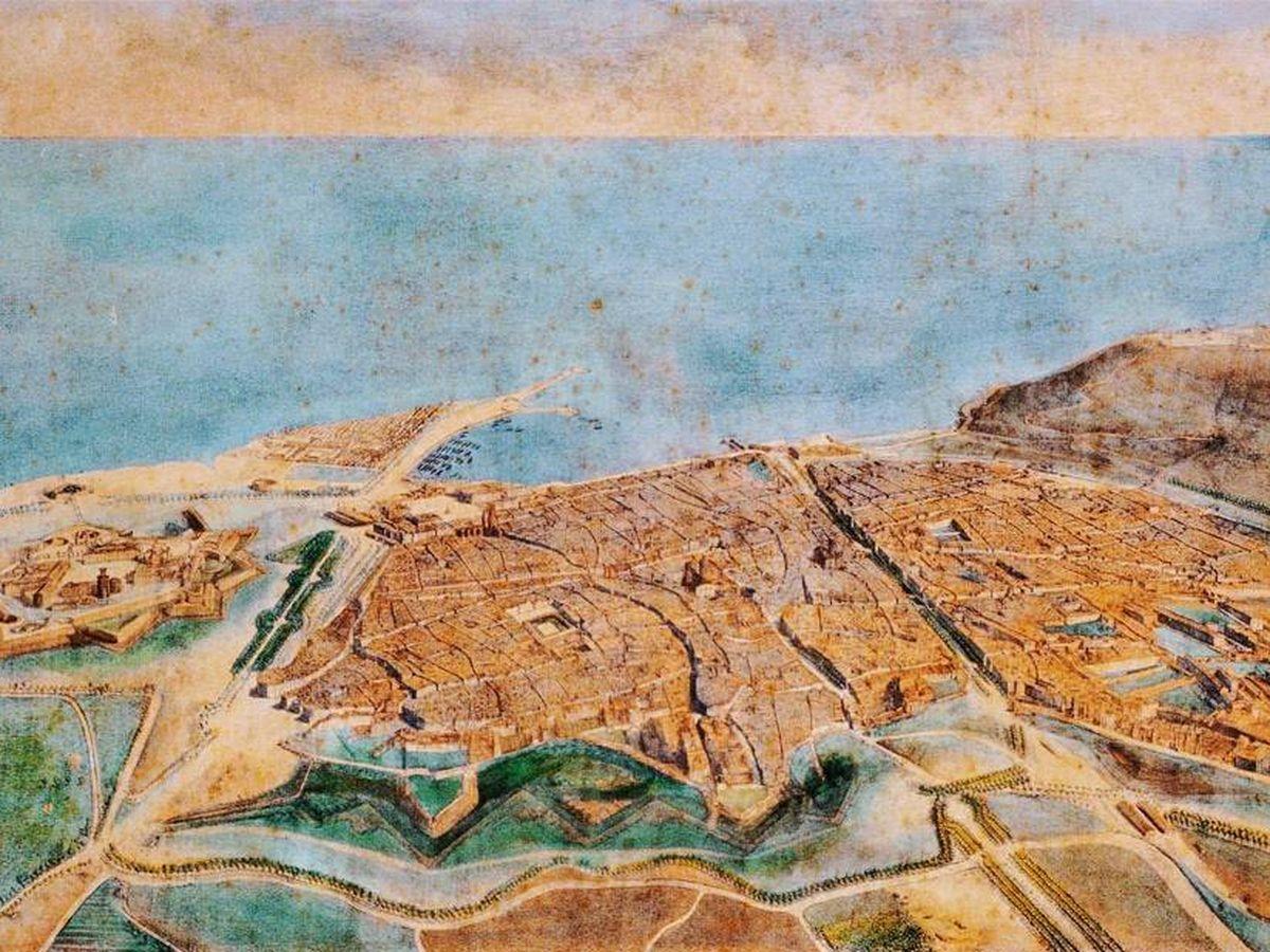 Foto: Vista aérea de Barcelona en 1857.