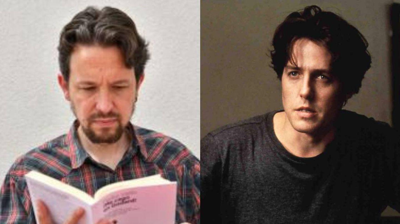 Detalle frontal del corte de pelo de Pablo Iglesias y corte de Hugh Grant en 'Notting Hill'. (Dabi Gago / Cordon Press)