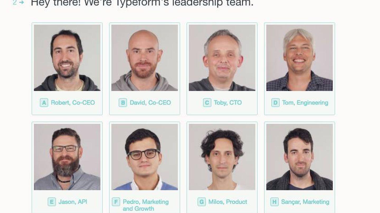 El equipo directivo de la 'startup' española Typeform: solo el 32% de plantilla son mujeres y tienen dos jefas de un total de 14 altos cargos.
