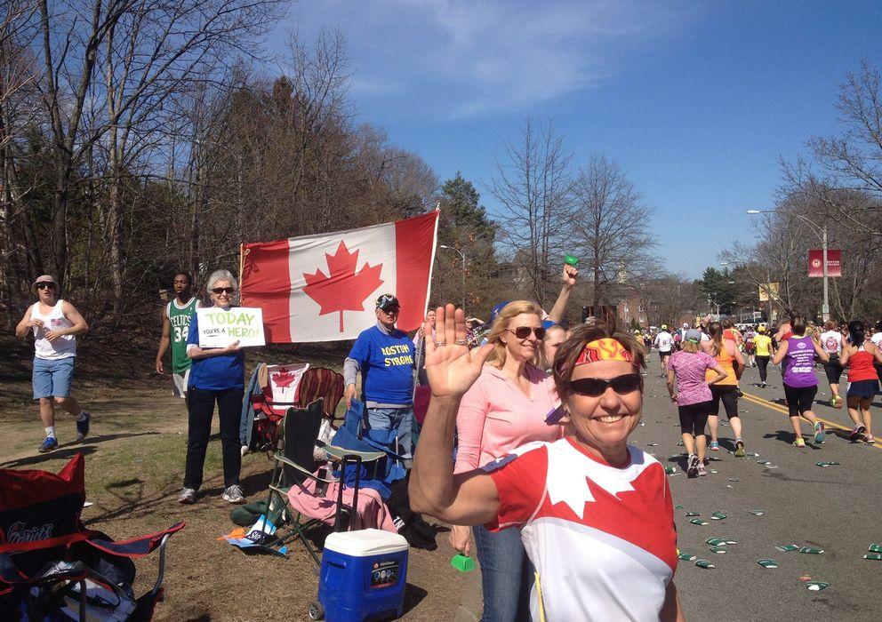 Foto: Margaret Webb en el maratón de Boston. (Facebook)