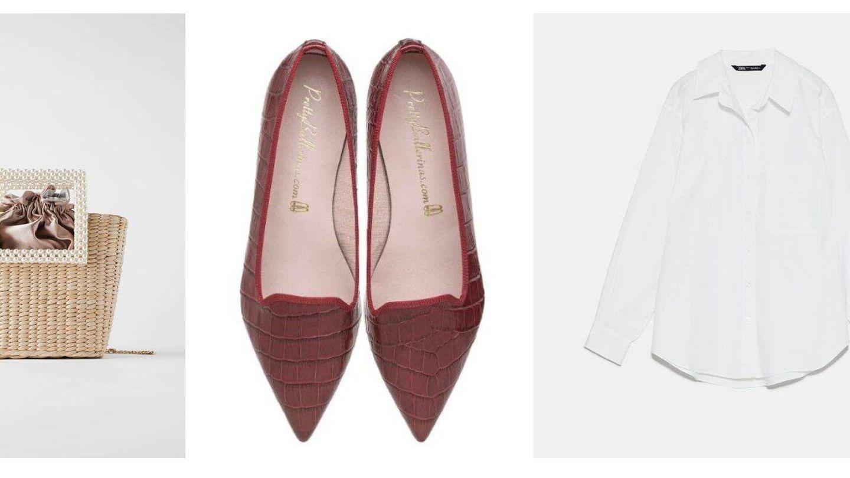 Bolso y camisa blanca de Zara y bailarinas de Pretty Ballerinas. (Cortesía)