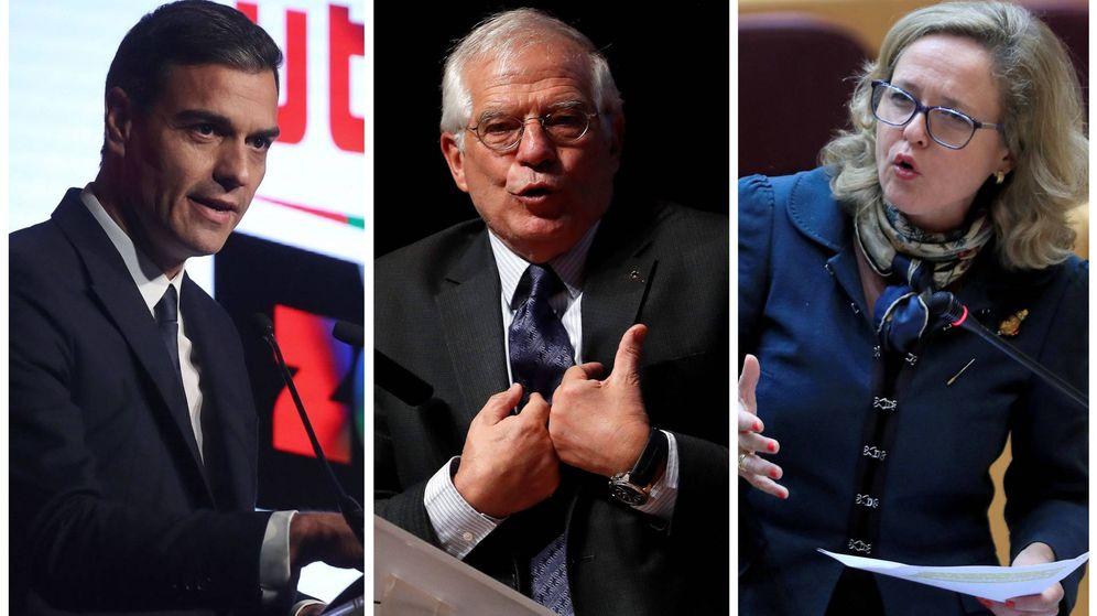 Foto: Pedro Sánchez, Josep Borrell y Nadia Calviño. (El Confidencial)