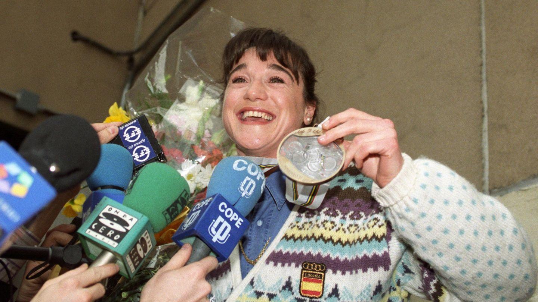 Blanca, en Madrid, tras conquistar su medalla de bronce en Albertville '92. (EFE)