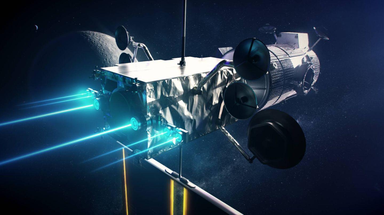 El módulo de propulsión de iones PPE en la popa unido al módulo HALO en la proa de la Lunar Gateway (NASA)