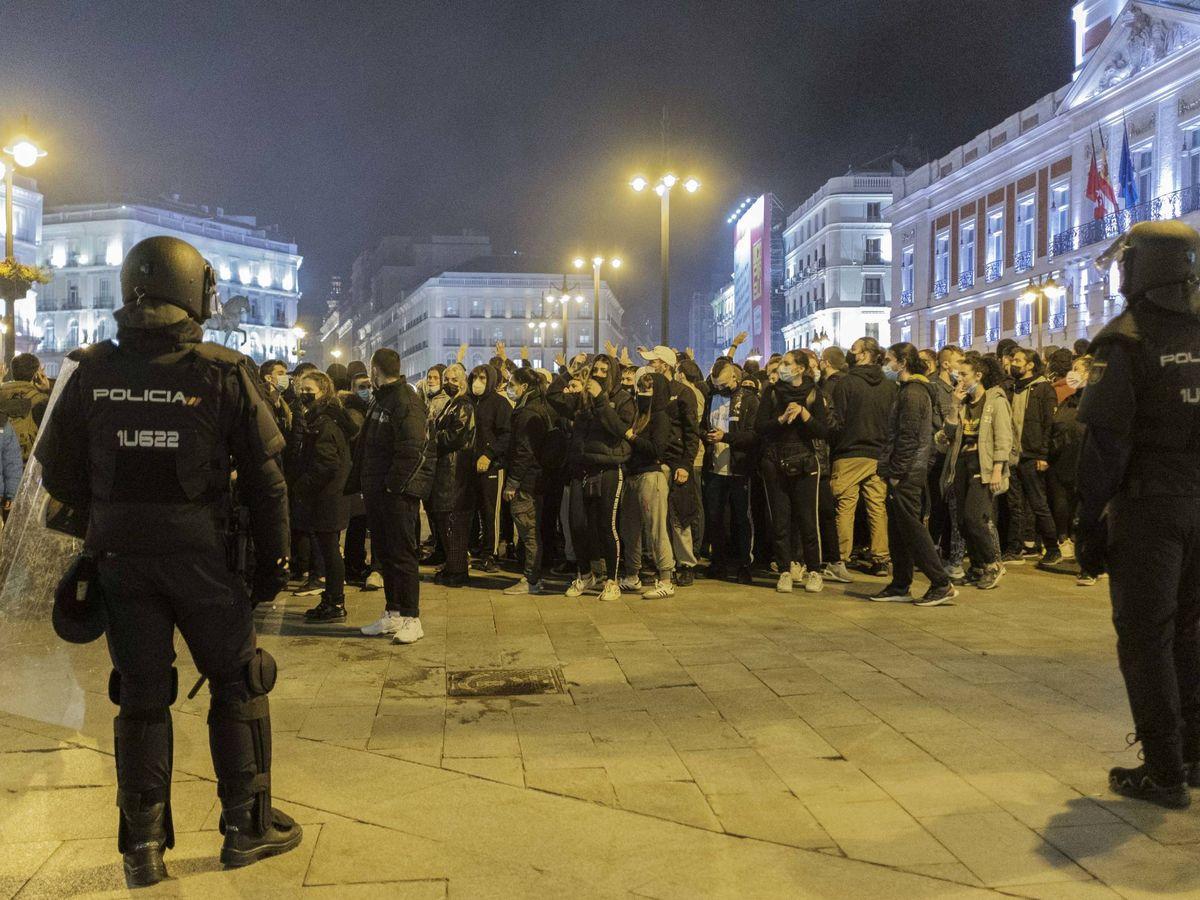 Foto: Protesta en Madrid por la detención de Pablo Hasél. (Sergio Beleña)