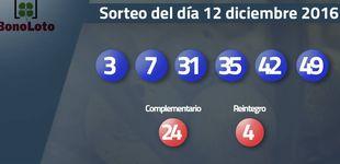 Post de Resultados del sorteo de la Bonoloto del 12 diciembre 2016: números 3, 7, 31, 35, 42, 49