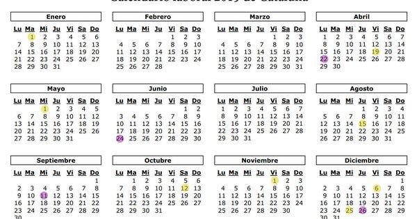 Calendario Laboral De Cataluna.Calendario Laboral 2019 De Cataluna Los 12 Festivos Y