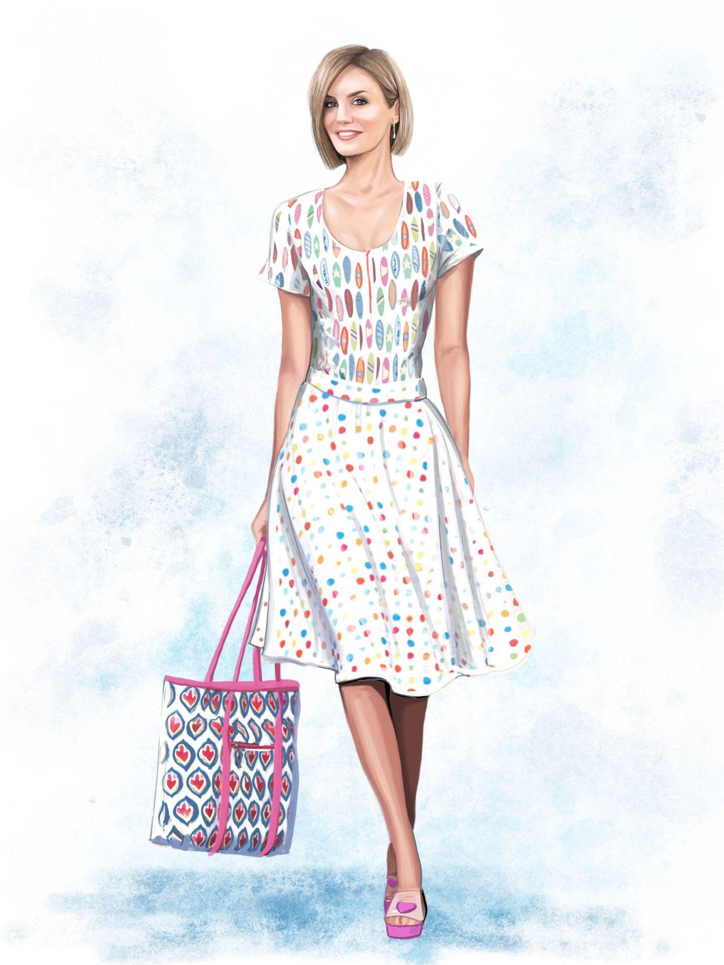 Letizia con un diseño de Ágatha Ruíz de la Prada (ilustración @garabatomural)