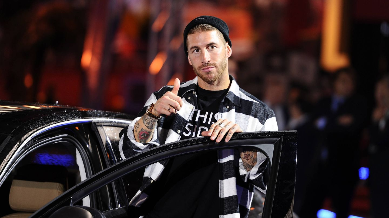 Sergio Ramos, con un coche Audi. (Getty)