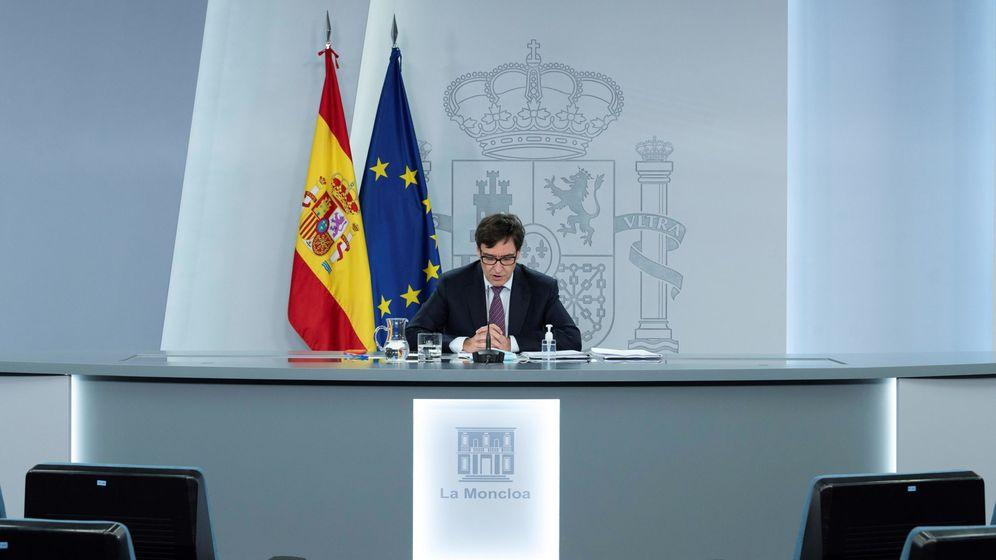 Foto: Salvador Illa, en la rueda de prensa de este viernes en La Moncloa. (EFE)