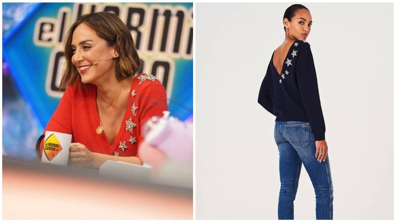 Tamara Falcó en Antena 3 y el jersey de Ba&sh. (Cortesía)