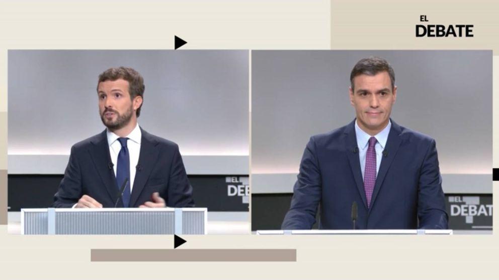 El criticado plano del debate que engrandeció a Sánchez frente a Casado