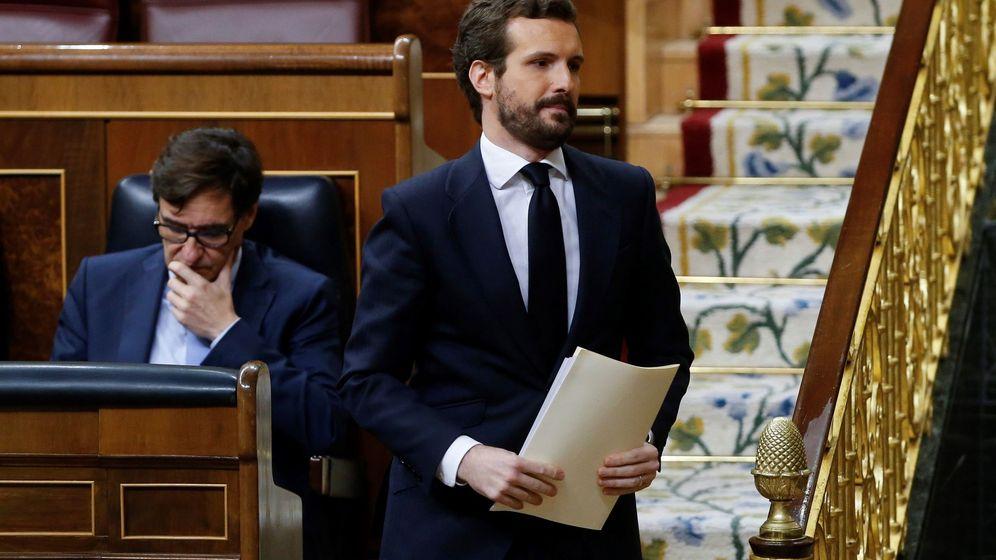 Foto: El líder del PP, Pablo Casado, en el Congreso de los Diputados. (EFE)