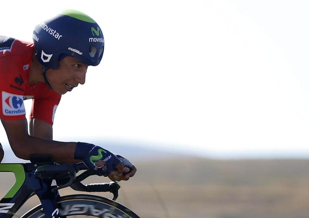 Foto: Nairo Quintana durante la Vuelta (Efe).
