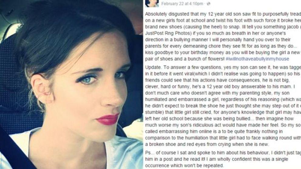 Una madre avergüenza a su hijo en Facebook por hacer 'bullying' a una chica